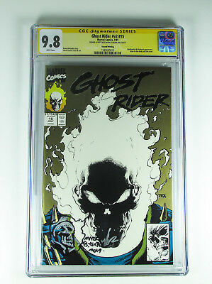 Ghost Rider v2 15 CGC 9.8 signed & sketch Mark Texeira 2nd Print Gold Edition