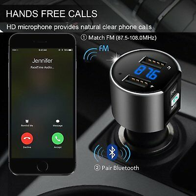 Bluetooth Car Kit MP3 Player FM Transmitter Wireless Radio Adapter USB Charger F