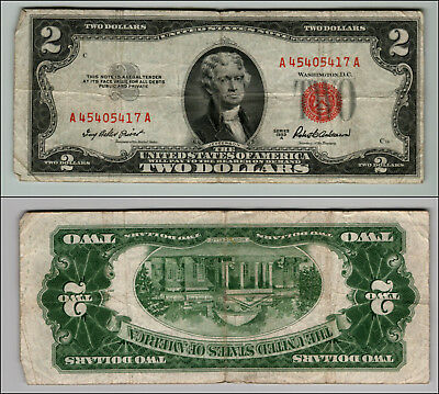1953A  Series United States Note Red Seal $2 Two Dollar Bill  LT P683