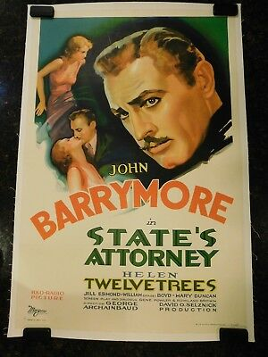 "STATE'S ATTORNEY Original 1932 Movie Poster, 27"" x 41"", C8.5 Very Fine/Near Mint"