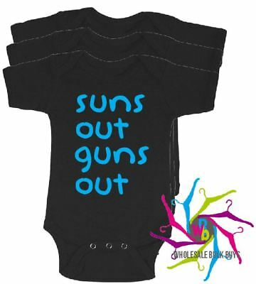 Wholesale Bulk Lot Baby Rompers - Suns Out Guns Out X 4