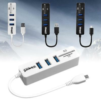 USB Hub Combo High Speed USB 2.0 Hub Splitter OTG 2 In 1 SD/TF Card Reader OJ