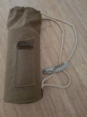 Brown Canvas WINE CARRIER BAG with Bottle opener