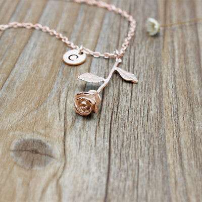 Fashion Jewelry Custom Letter Initial Rose Gold Color Flower Pendant Necklace