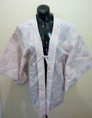 authentic Japanese short kimono pale pink and gold