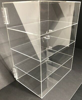 "Acrylic Counter Top Display Case 12"" x 8"" x 16""Locking Cabinet Showcase Boxes"