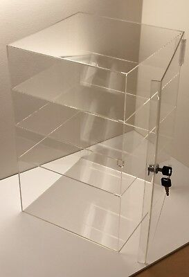 "Acrylic Counter Top Display Case 8""x 8"" x16""Locking Cabinet Showcase Boxes"