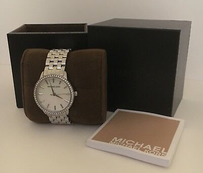 Michael Kors Ladies Watch MK-3118 Silver Mother of Pearl with crystals