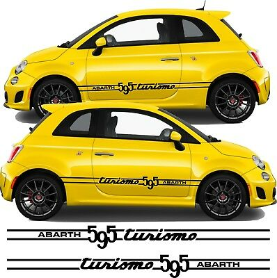 Fiat 500 595 Turismo abarth  Side Stripes Graphics Decals Stickers  any colours