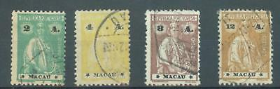 Macao 1922-4 unsurfaced sg.312, 315, 317, 319 used, perfs vary