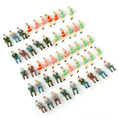 50pcs 1:50 O Scale Painted Train Seated People Model Figures Passengers Layout
