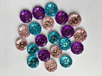 Rhinestone Buttons - Multi Colours - 18Mm - 20 Pieces - New & Sealed