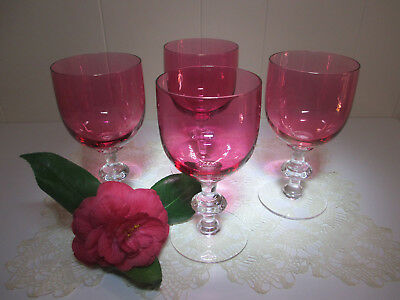 4 LARGE FLASHED RUBY ~ Wine, Water or Dessert GLASSES ~ Stunning