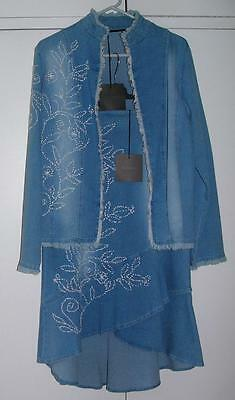 NWT Designer GEORGE Blue STRETCH Cotton PENCIL Fishtail SKIRT & JACKET 12 14