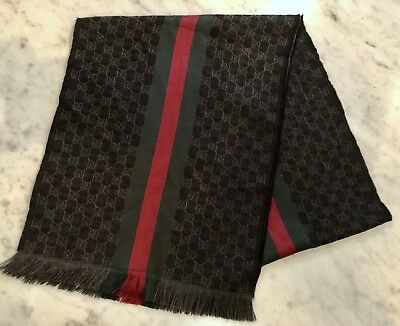 GUCCI WEB SCARF 180cm Authentic Men's Black Charcoal Green Red