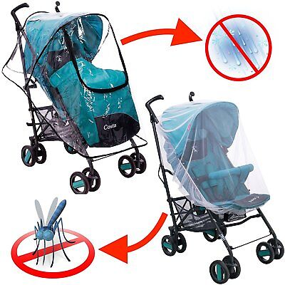 Stroller Rain Cover & Baby Mosquito Net Outdoor Protection for Babies Pack of 2