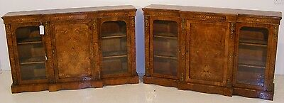 Good Quality Antique Pair Of Victorian Walnut & Inlaid Credenzas Side Cabinets