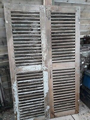 French Vintage Wooden Window Shutters, Pair Of Shutters