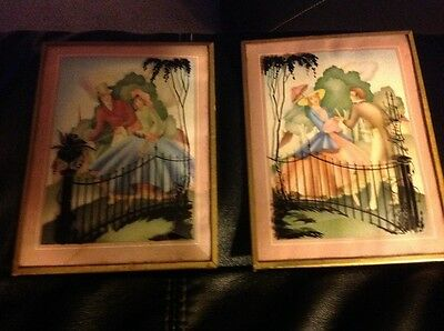 Vintage 1930's Pair of Courting Couple Silhouette  Wall Prints