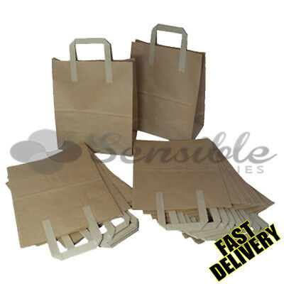 50 X Medium Brown Kraft Paper Sos Bags 8X4X10""