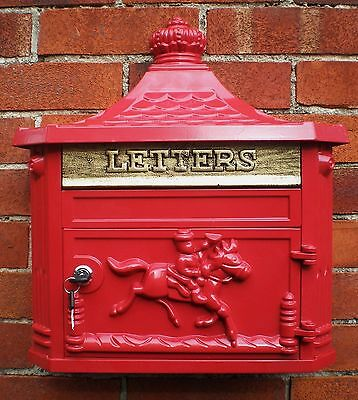 Antique Victorian Red Aluminium Wall Mounted Locking Letter Post Royal Mail Box