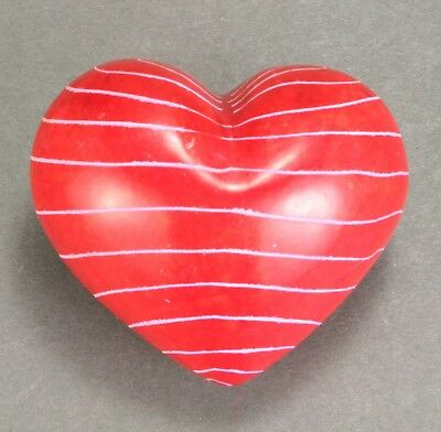 """Heart - 1.75"""" - Soapstone - Hand carved and decorated in Kenya - Valentine - Red"""