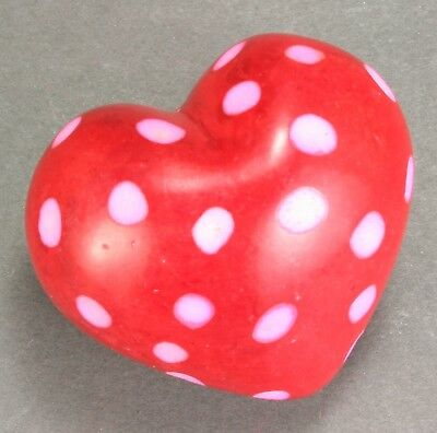 "Heart - 1.75"" - Soapstone - Hand carved and decorated in Kenya - Valentine - Red"