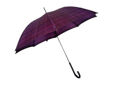 Purple Walking umbrella with Fibreglass ribs and Faux Leather Curved handle