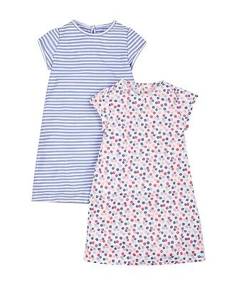 MOTHERCARE GIRLS FLORAL AND STRIPE NIGHTDRESSES 2 PACK NIGHTIE SLEEPWEAR 2-3 yrs