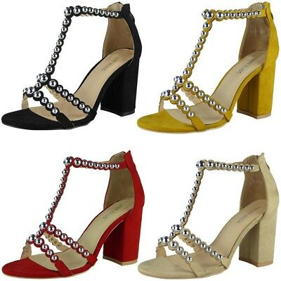 Womens T-Bar Studded Sandals Ladies Faux Suede Party Buckle High Heel Shoes Size