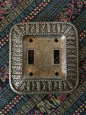 Vintage Cast Metal Double Light Switch Plate Cover Floral Textured Amer Tack
