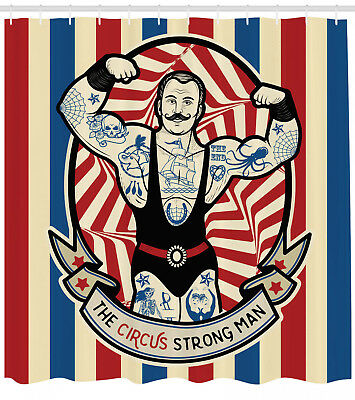 Man with Tattoos and Muscles Circus Theme Show Star Print Shower Curtain Set
