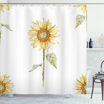 Shower Curtain Sunflower Watercolor Painting Effect Yellow 70 Inches Long