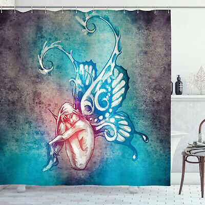 Fairy with Butterfly Wings Art Illustration Bohemian Style Shower Curtain Set