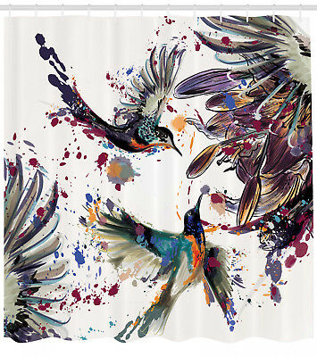 Shower Curtain Birds Watercolor Painting Style Splash 70 Inches Long