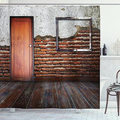 Antique Frame Brick Wall Aged Old Room Rustic Wooden Floor Print Shower Curtain