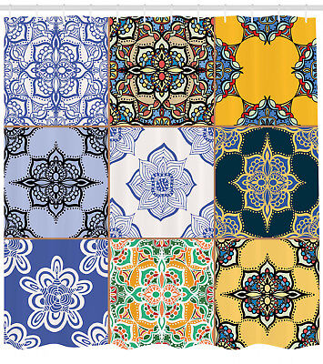 Islamic and Portuguese Tile Patterns Bohemian Style Print Shower Curtain Set