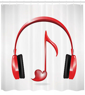 Headphones And Heart Shaped Key Note Melody Music Decor Print Shower Curtain Set 29 99 Picclick