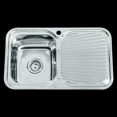 Stainless Steel Single Bowl Drop In Topmount Kitchen Sink with Drainer 780x480