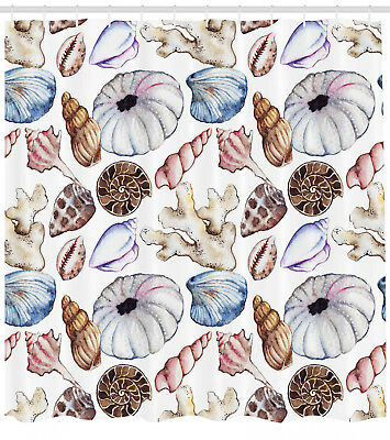 Seashell Clam Coral Watercolor Urchin Sea Wildlife Reef Image Shower Curtain Set