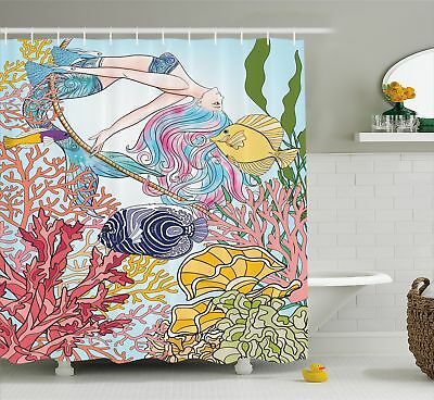 Mermaid Shower Curtain Sketchy Sea Coral Reefs Print For Bathroom 70 Inches Long