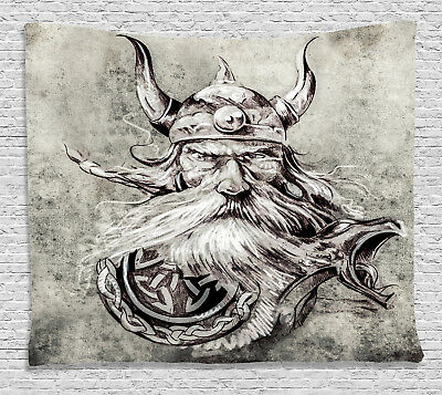 Tattoo Tapestry Sketchy Viking Warrior Print Wall Hanging Decor 60Wx40L Inches