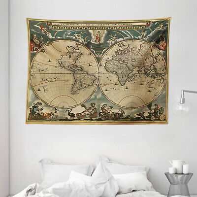 Vintage Tapestry Old Map Ancient World Print Wall Hanging Decor 80Wx60L Inches