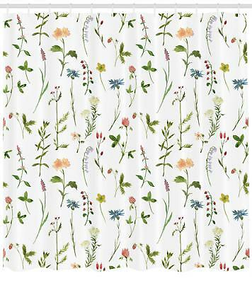 Floral Shower Curtain Herb Flowers Watercolors Print For Bathroom 70 Inches Long