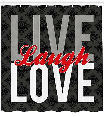 Live Laugh Love Shower Curtain Antique Damask Print For Bathroom 70 Inches Long