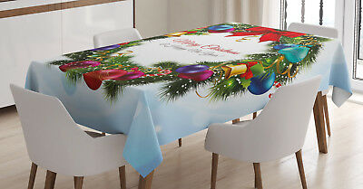 Christmas Tablecloth Round Green Wreath Rectangular Table Cover 60 X 90 Inches