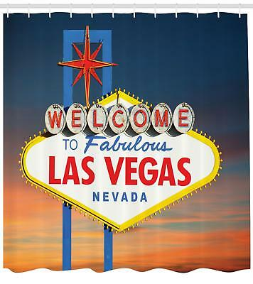 Welcome To Fabulous Las Vegas Nevada Sign Road Art Decor Fabric Shower Curtain