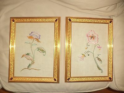 PAIR OF DORI BRONZE FRAMES RUBY EMBROIDERED FLORAL ART PICTURES ANTIQUE 1900s