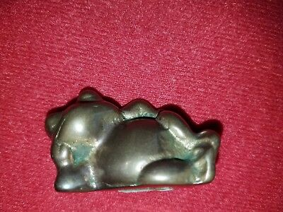 "Bronze Brass Solid Frog Figurine Made In Taiwan 2"" Vintage Rare Heavy Collectibl"