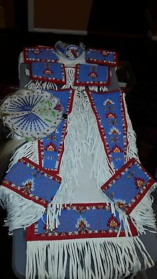Men's, Native American, fully beaded, traditional, powwow dance outfit, regalia